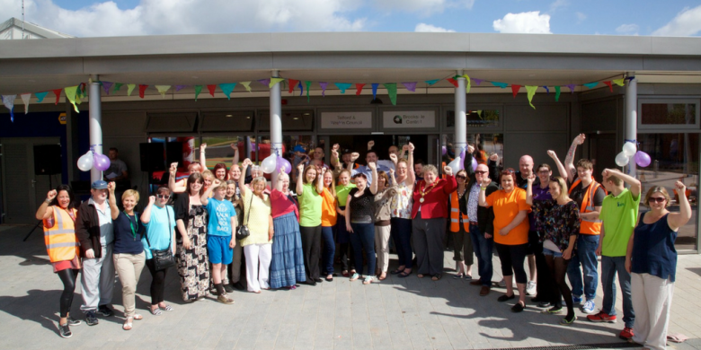 Volunteers and people in the community
