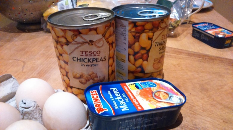 Alternatives to meat such as chickpeas, beans, eggs and fish.