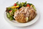 Baked potato with tuna and salad