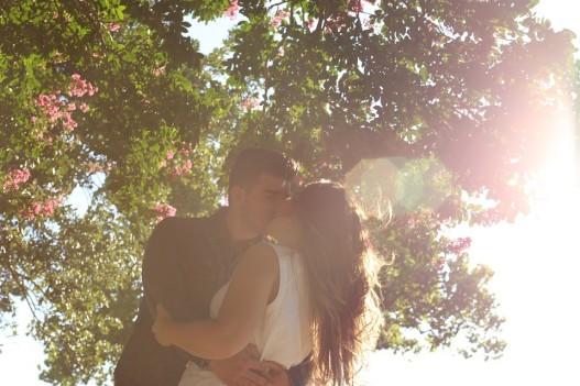 happy couple kissing sweet