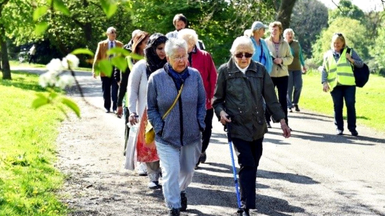People enjoying a group walking event