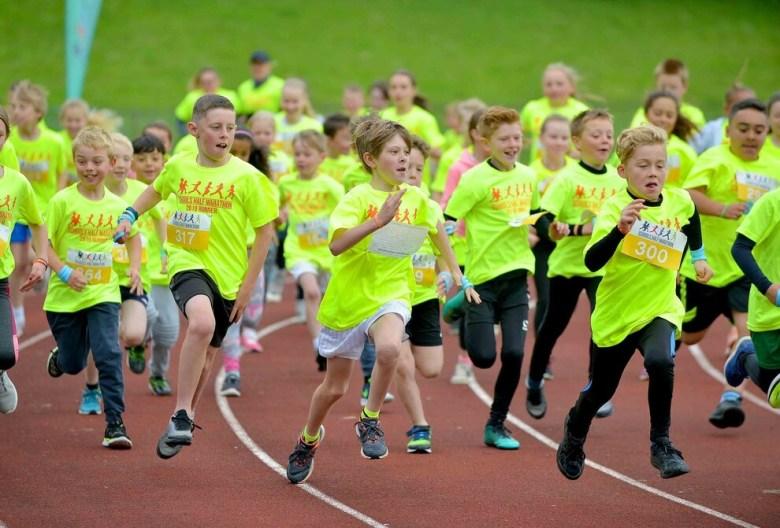 Young people taking part in the schools half marathon